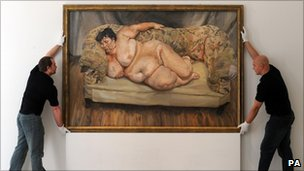 Lucian Freud painting Benefits Supervisor Sleeping being hung at Christies