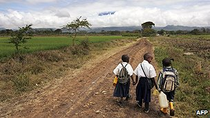 Children on way to school in Tanzania