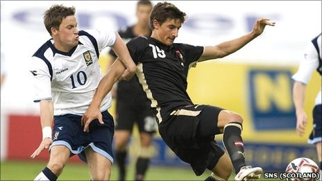 Thomas Piermayr in action for Austria Under-21s against Scotland