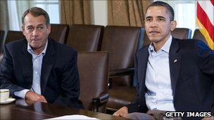 John Boehner and Barack Obama in the Cabinet Room of the White House on 23 July 2011