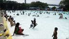 Crowds cool off at the Astoria Park Pool in New York