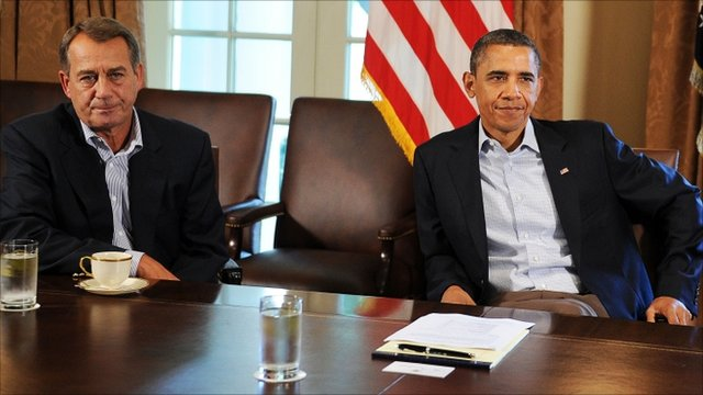 US President Barack Obama with US Speaker of the House John Boehner
