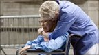 Phyllis Siegel (R) embraces her wife Connie Kopelov in Manhattan New York