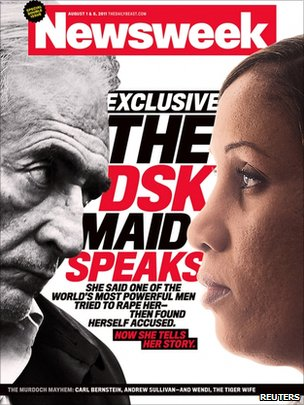 Cover of Newsweek in which Strauss Kahn's accuser has given an interview