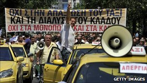 Taxi drivers protest in Athens