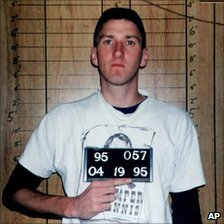 Timothy McVeigh on 19 April 1995, hours after the Oklahoma City bombing, at the Noble County Jail in Perry, Okla