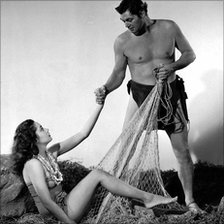 Linda Christian with Johnny Weissmuller in Tarzan And The Mermaids