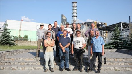 Research team, led by Tim Mousseau (front, second from the left) in teh the exclusion zone