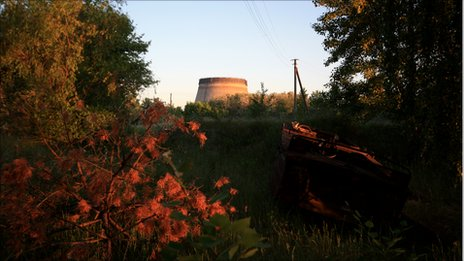 A cooling tower in the Chernobyl exclusion zone