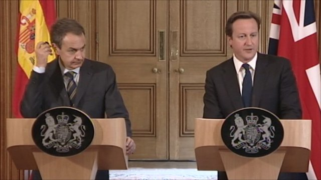Jose Luis Zapatero and David Cameron