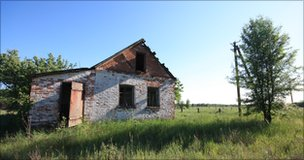 Abandoned farm building in the Chernobyl exclusion zone