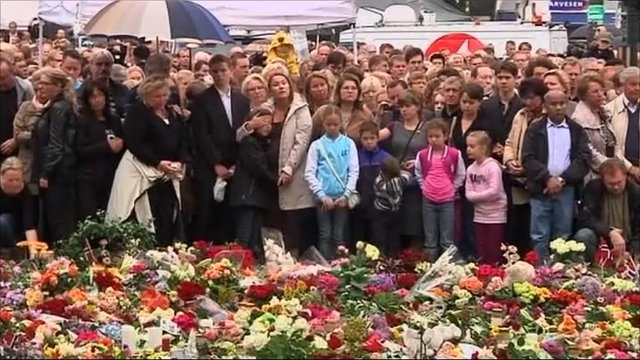 People gathered in Norway to hold a minute silence in honour of the dead