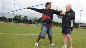 Fijian javelin thrower Leslie Copeland and UCLan lecturer John Trower