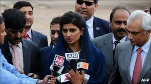 Pakistan Foreign Minister Hina Rabbani Khar speaks to the press as she arrives in Delhi on 26 July 2011