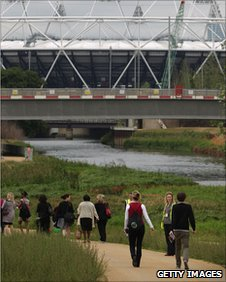 Visitors take a tour at the London 2012 Olympic Park
