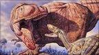 Dinosaurs over a carcass (image:Mark Hallet Paleoart / SPL)