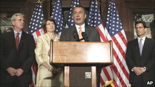 House Speaker John Boehner speaking alongside other Republican lawmakers