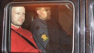 Anders Behring Breivik leaves court, 25 July