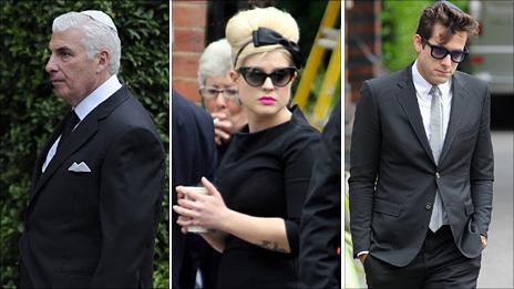 Mitch Winehouse, Kelly Osbourne and Mark Ronson at the funeral of Amy Winehouse