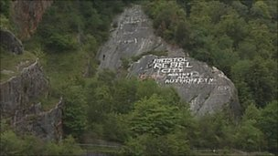 Graffiti on rock face