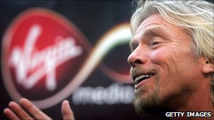 Richard Branson at the launch of Virgin Media