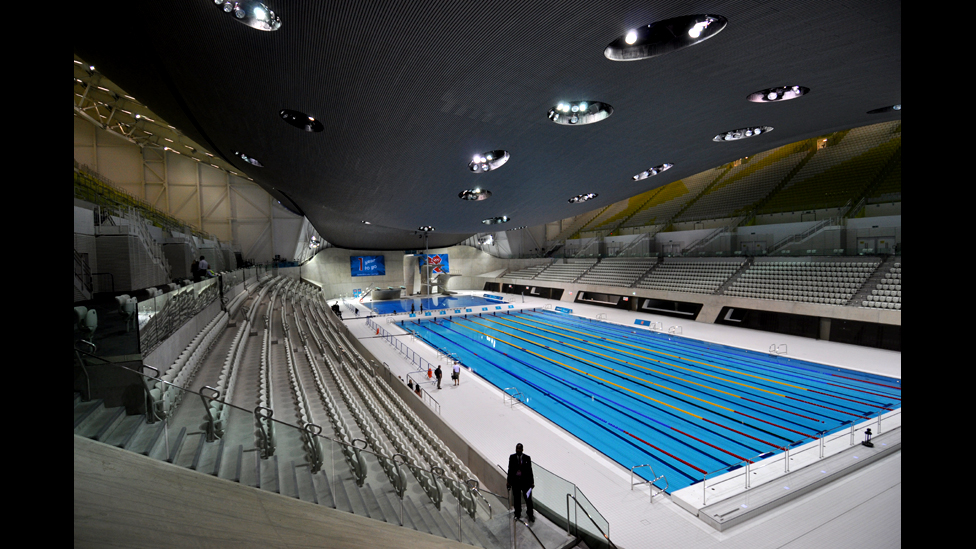 high view of the aquatics centre - Olympic Swimming Pool 2012