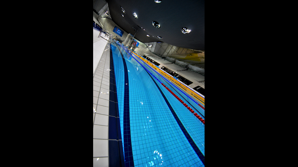 Bbc news london 2012 inside the olympic aquatics centre for How deep is a olympic swimming pool