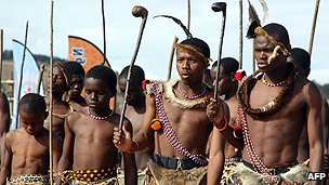 Swazi boys in ceremonial dress