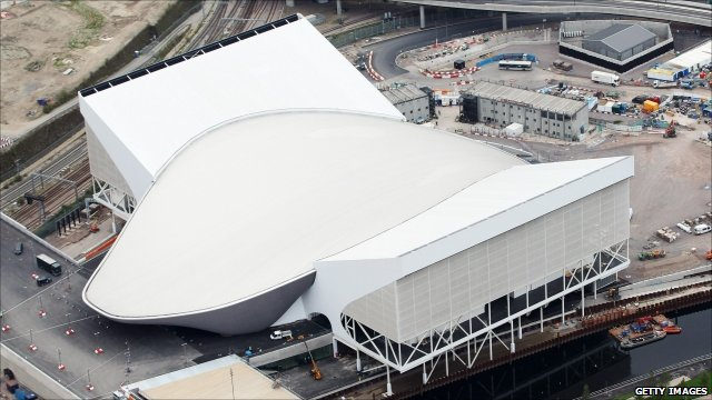 Aerial view of the Aquatics Centre