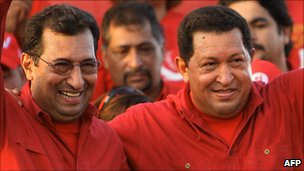 Adan Chavez (left) and Hugo Chavez(right) in file photo from 2008
