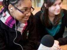 School Reporters practice their interviewing technique
