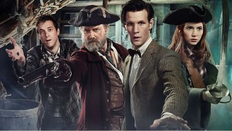A scene from Doctor Who series 6 with Rory Williams, Avery, The Doctor and Amy Pond.