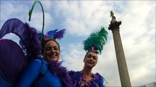 Circus performers in Trafalgar Square