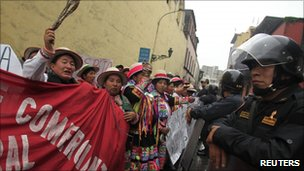 People from Cuzco protest in Lima against irrigation plans on 6 July, 2011.