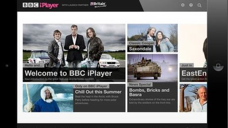 An iPad running the BBC iPlayer app