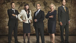 The Dragons - From Left: Duncan Bannatyne, Hilary Devey, Theo Paphitis, Deborah Meaden, and Peter Jones.