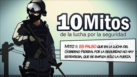 Mexican government cartoon depicting what officials say are myths about the  drugs conflict