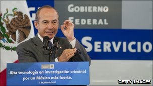 Mexican President Felipe Calderon delivers a speech during the inauguration of the new forensic laboratory in Mexico City, on 1July 2011