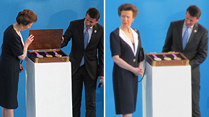 Princess Anne and Seb Coe reveal the London 2012 medal design