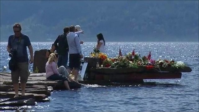 Floral tributes in Norway