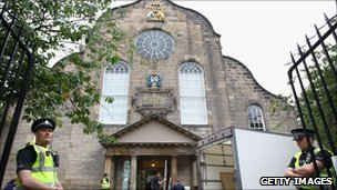 Preparations get underway at Canongate Kirk for the wedding of Zara Phillips and Mike Tindall