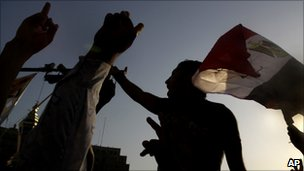 Egyptian protesters shout slogans against the military rulers in Tahrir Square in Cairo, Egypt, 24 July 2011
