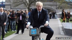 Boris Johnson on a cycle hire bike