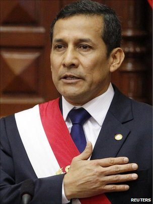 Peru&#039;s new President Ollanta Humala is sworn in to office in Congress in Lima on 28 July.