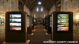 Somerset Rural Life Museum exhibition in the 14th Century Abbey Barn