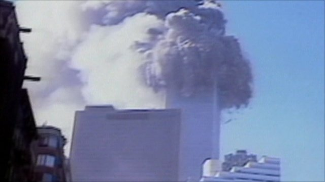 North Tower collapsing