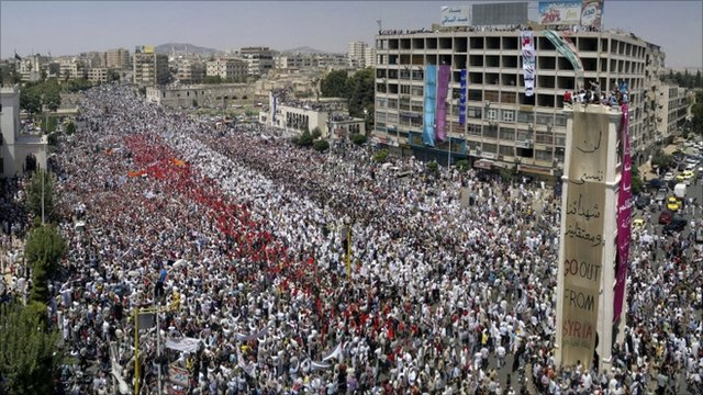 Protesters gather in the Syrian city of Hama