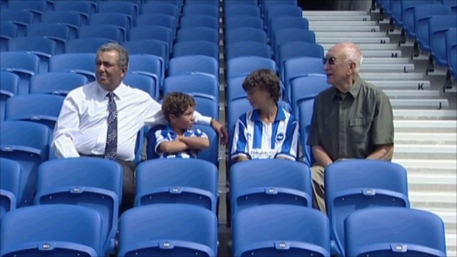 Three generations of Seagulls supporters