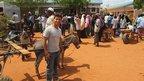 Ricky with a donkey in Dadaab