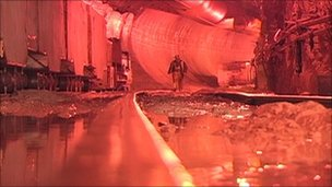 """The interior of the """"super-sewer"""" tunnel in Milwaukee"""